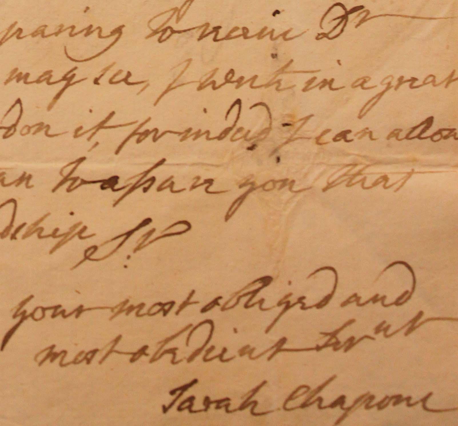 Detail Of A Letter From Sarah Chapone To George Ballard 3