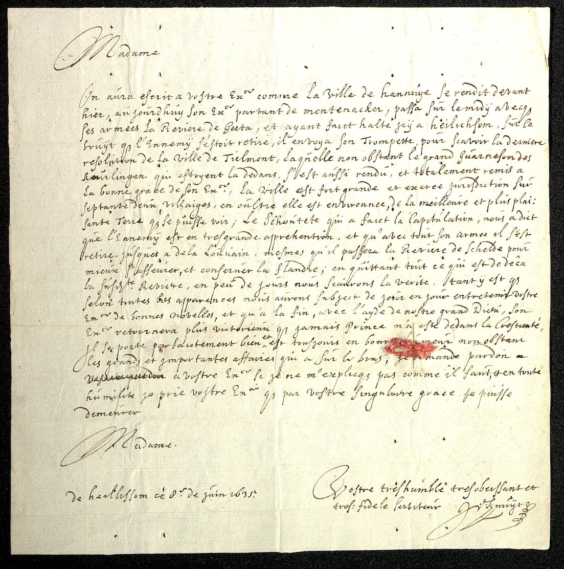 Letter from Johan de Knuyt to Amalia von Solms-Braunfels, 8 June 1635
